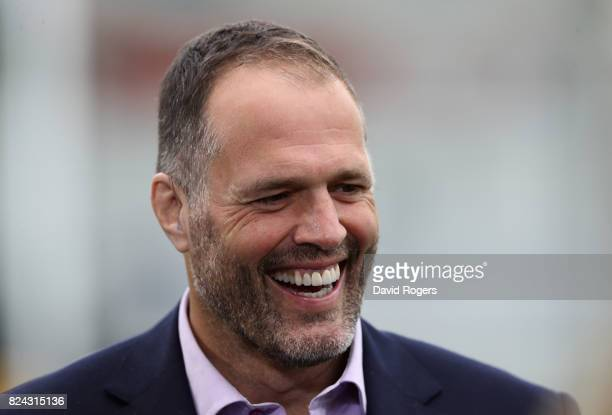Martin Bayfield the former England international now BT rugby presenter looks on during the Singha Premiership Rugby 7s Series Day Two at Franklin's...