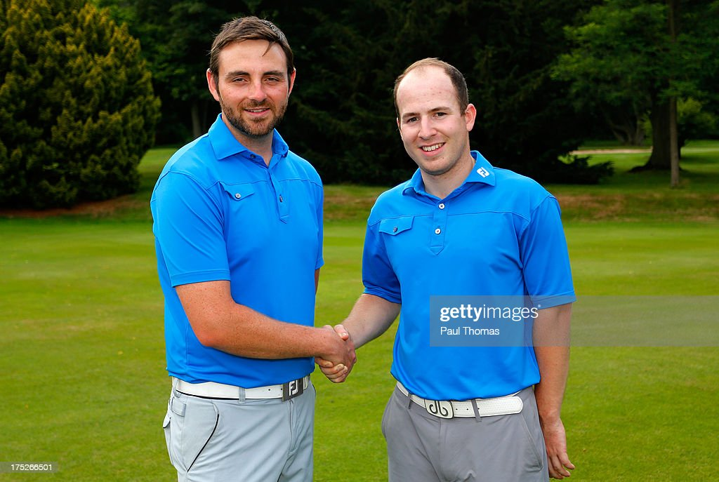 Martin Beaty (L) and Jordan Flint of Crompton & Royton Golf Club pose for a photograph after winning the Golfbreaks.com PGA Fourball Regional Qualifier at Woodsome Hall Golf Club on August 1, 2013 in Huddersfield, England.