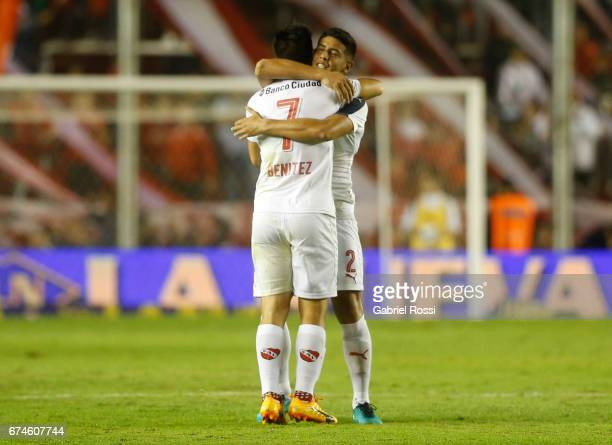 Martin Benitez of Independiente celebrates with teammate Alan Franco after scoring the first goal of his team during a match between Independiente...