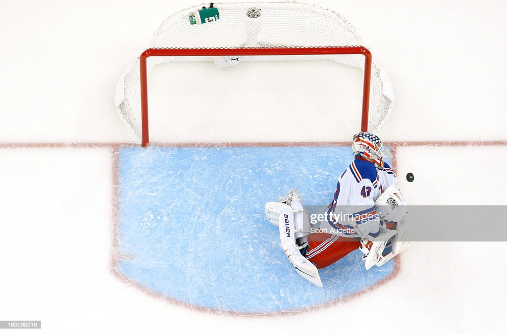 <a gi-track='captionPersonalityLinkClicked' href=/galleries/search?phrase=Martin+Biron&family=editorial&specificpeople=203146 ng-click='$event.stopPropagation()'>Martin Biron</a> #43 of the New York Rangers blocks a puck during their game against the Tampa Bay Lightning at the Tampa Bay Times Forum on February 2, 2013 in Tampa, Florida.