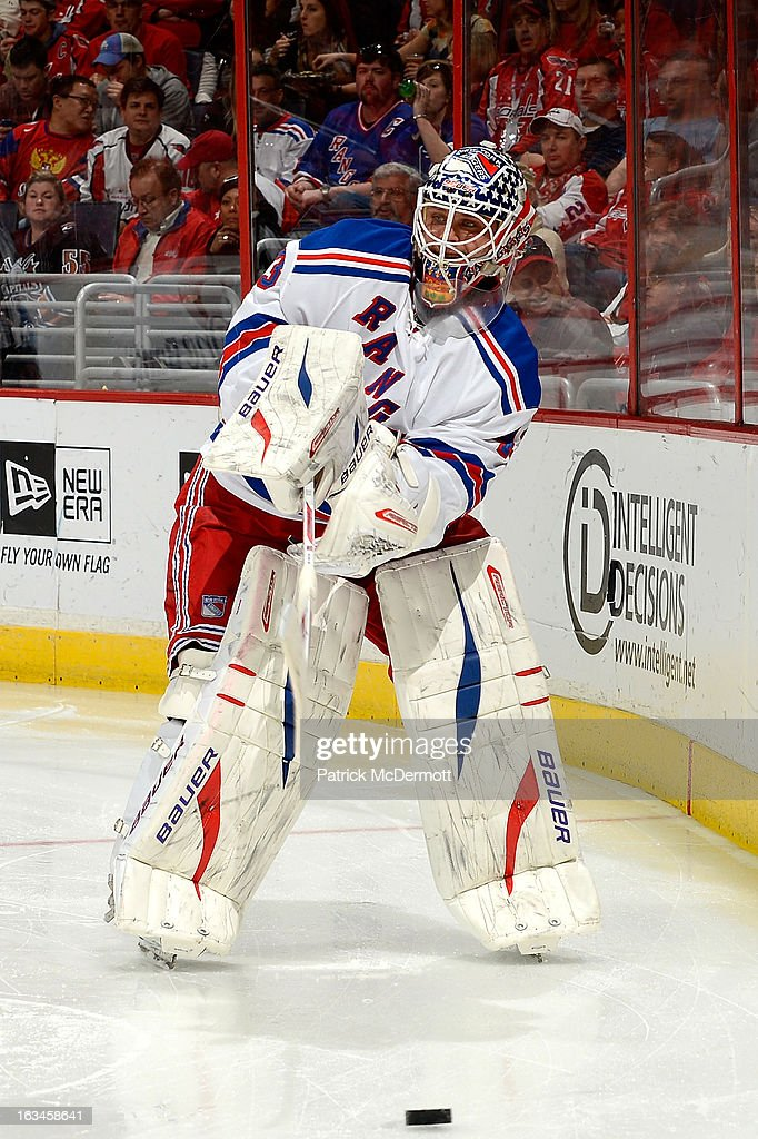 <a gi-track='captionPersonalityLinkClicked' href=/galleries/search?phrase=Martin+Biron&family=editorial&specificpeople=203146 ng-click='$event.stopPropagation()'>Martin Biron</a> #43 of the New York Rangers plays the puck during the third period of an NHL game against the Washington Capitals at Verizon Center on March 10, 2013 in Washington, DC.