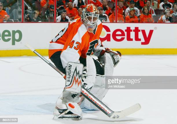 Martin Biron of the Philadelphia Flyers skates against of the Pittsburgh Penguins during Game Three of the Eastern Conference Quarterfinal Round of...