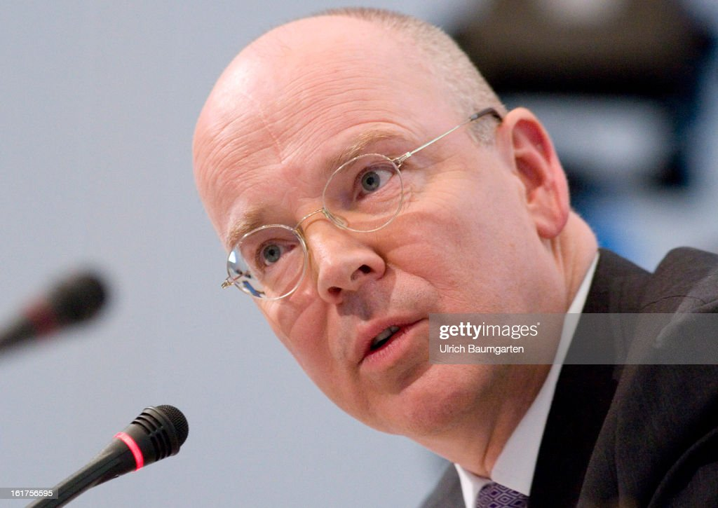 Martin Blessing, CEO of Commerzbank AG, during the company's annual press conference to present the 2012 results on February 15, 2013 in Frankfurt am Main, Germany. Chief Executive Martin Blessing announced at the press conference that he will waive his annual bonus as a result of the bank's unsatisfactory annual profit.