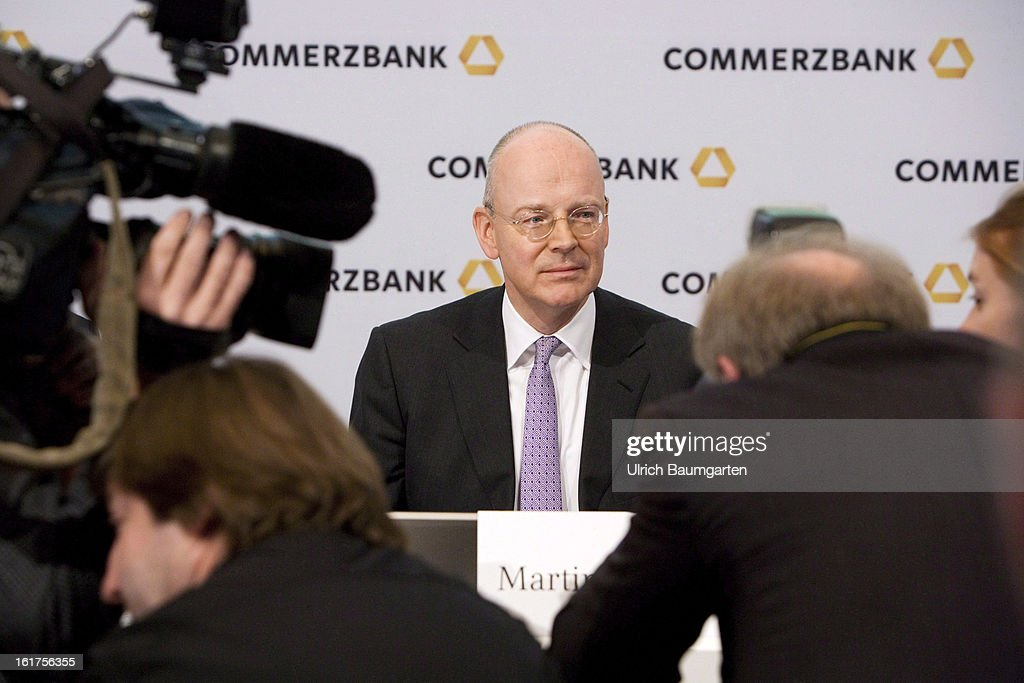 Martin Blessing, CEO of Commerzbank AG, looks on during the company's annual press conference to present the 2012 results on February 15, 2013 in Frankfurt am Main, Germany. Chief Executive Martin Blessing announced at the press conference that he will waive his annual bonus as a result of the bank's unsatisfactory annual profit.