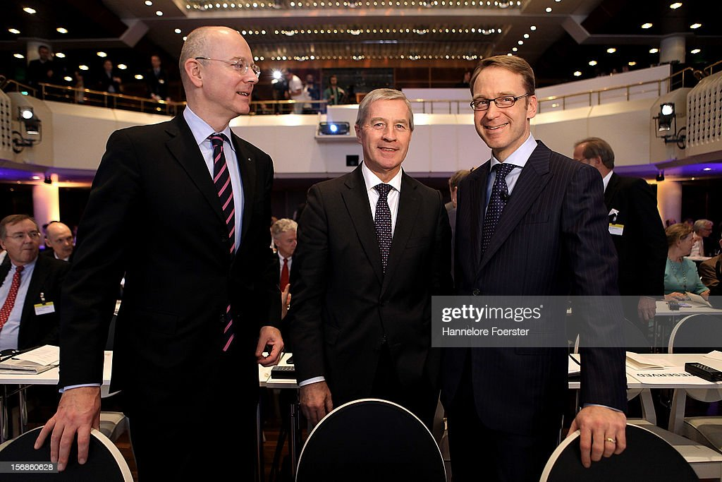 Martin Blessing, chairman of the board Commerzbank AG, <a gi-track='captionPersonalityLinkClicked' href=/galleries/search?phrase=Juergen+Fitschen&family=editorial&specificpeople=3093173 ng-click='$event.stopPropagation()'>Juergen Fitschen</a>, Co-chairman of the management of Deutsche Bank AG and <a gi-track='captionPersonalityLinkClicked' href=/galleries/search?phrase=Jens+Weidmann&family=editorial&specificpeople=6917233 ng-click='$event.stopPropagation()'>Jens Weidmann</a>, president Deutsche Bundesbank, attends the European Banking Congress on November 23, 2012 in Frankfurt, Germany. Bankers from across Europe are meeting as Europe continues to struggle with weak economies in the Eurozone and governmens remain locked in disagreement over the European Union 2013 budget.