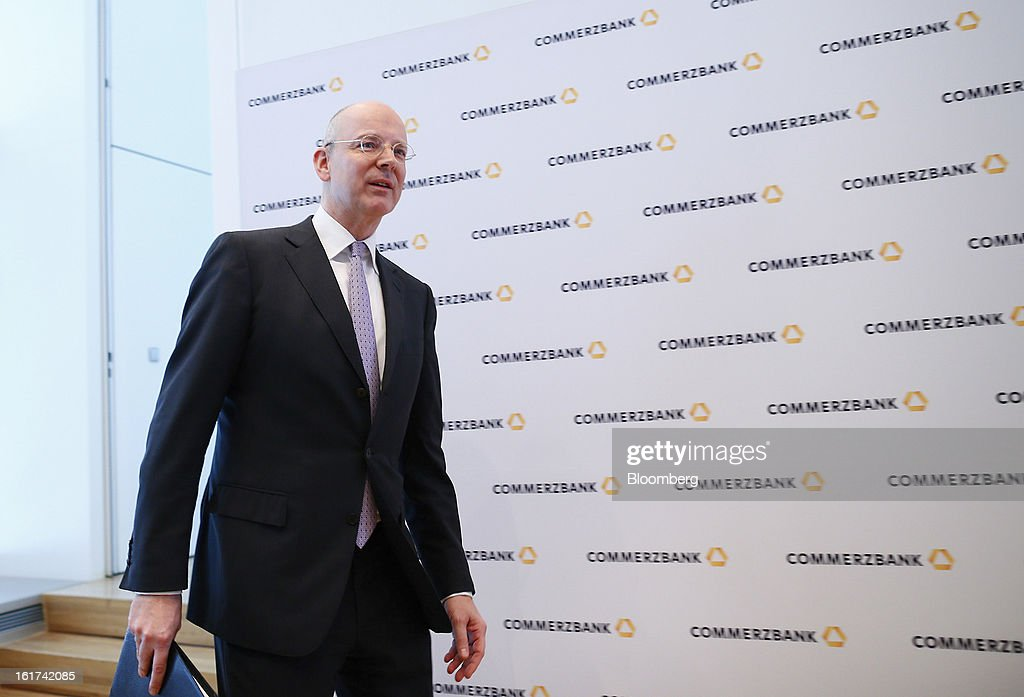 Martin Blessing, chief executive officer of Commerzbank AG, arrives for a news conference in Frankfurt, Germany, on Friday, Feb.15, 2013. Blessing gave up his bonus for last year and cut the payouts by an average 17 percent across the firm, warning of higher costs and more pressure on revenue. Photographer: Ralph Orlowski/Bloomberg via Getty Images