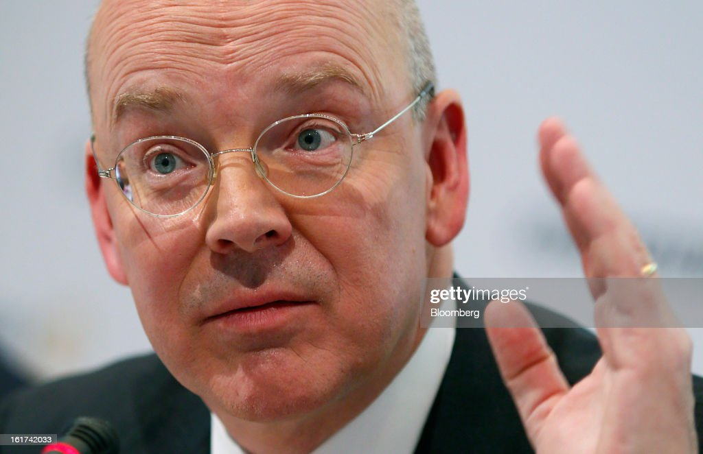 Martin Blessing, chief executive officer of Commerzbank AG, gestures during a news conference in Frankfurt, Germany, on Friday, Feb.15, 2013. Blessing gave up his bonus for last year and cut the payouts by an average 17 percent across the firm, warning of higher costs and more pressure on revenue. Photographer: Ralph Orlowski/Bloomberg via Getty Images