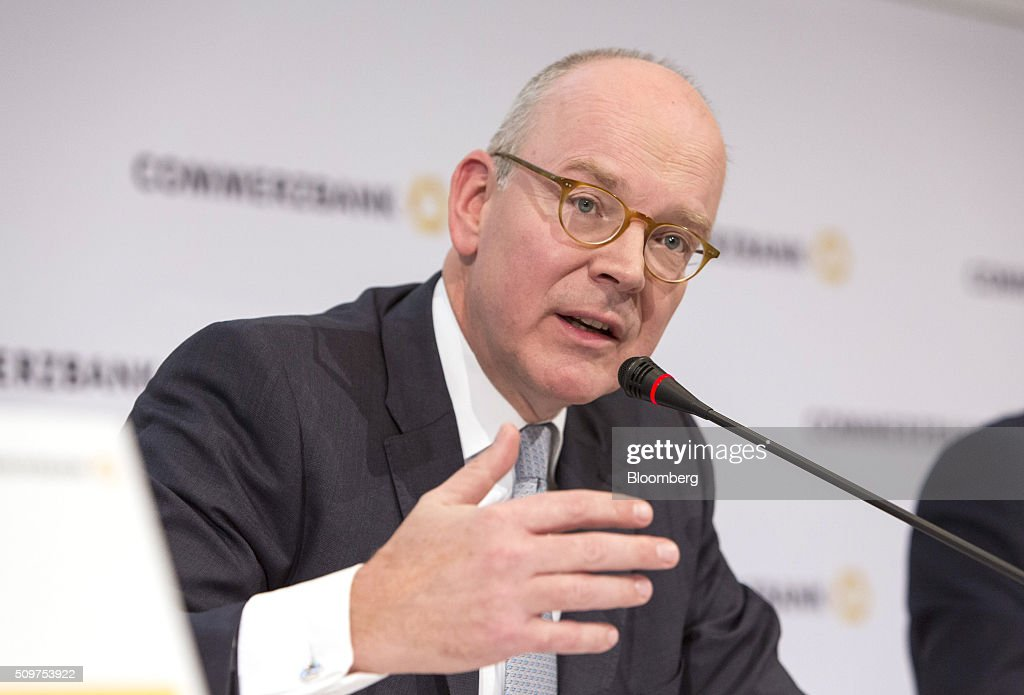 <a gi-track='captionPersonalityLinkClicked' href=/galleries/search?phrase=Martin+Blessing&family=editorial&specificpeople=4891922 ng-click='$event.stopPropagation()'>Martin Blessing</a>, chief executive officer of Commerzbank AG, gestures as he speaks during a news conference to announce the bank's earnings in Frankfurt, Germany on Friday, Feb. 12, 2016. Commerzbank jumped the most in more than two years after fourth-quarter profit beat analyst estimates, as the lender said it plans to wind down its unit for soured loans at a faster pace than forecast. Photographer: Martin Leissl/Bloomberg via Getty Images