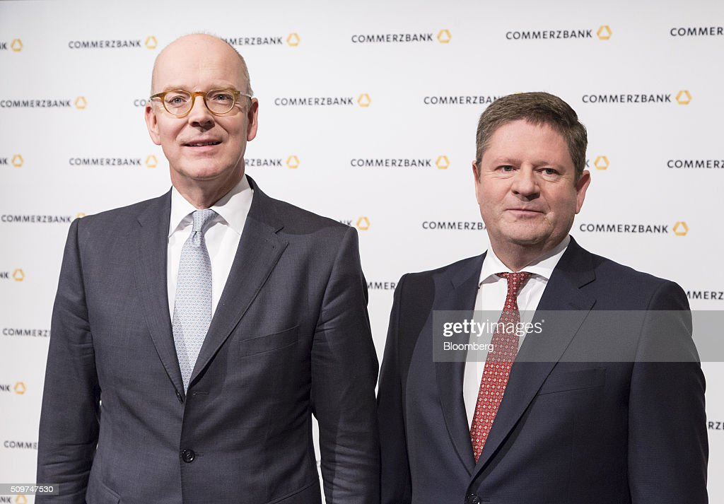 Martin Blessing, chief executive officer of Commerzbank AG, left, and Stephan Engels, chief financial officer of Commerzbank AG, pose for a photograph ahead of a news conference to announce the bank's earnings in Frankfurt, Germany on Friday, Feb. 12, 2016. Commerzbank jumped the most in more than two years after fourth-quarter profit beat analyst estimates, as the lender said it plans to wind down its unit for soured loans at a faster pace than forecast. Photographer: Martin Leissl/Bloomberg via Getty Images