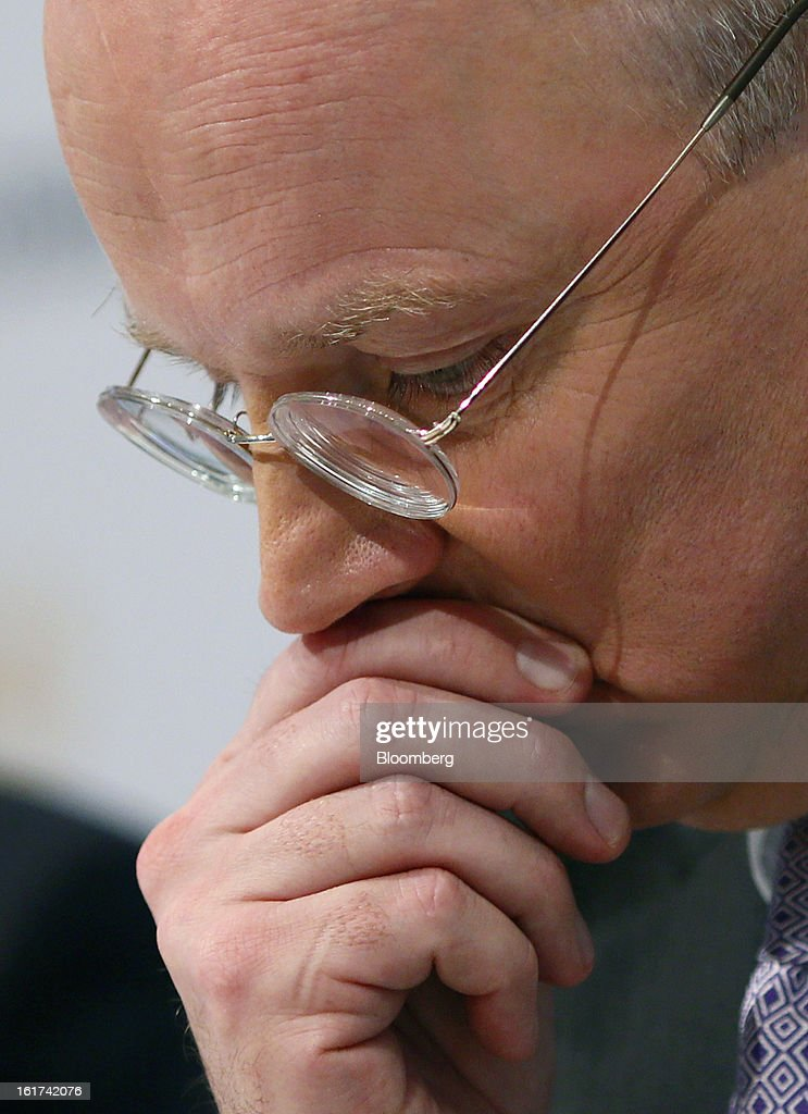 Martin Blessing, chief executive officer of Commerzbank AG, pauses during a news conference in Frankfurt, Germany, on Friday, Feb.15, 2013. Blessing gave up his bonus for last year and cut the payouts by an average 17 percent across the firm, warning of higher costs and more pressure on revenue. Photographer: Ralph Orlowski/Bloomberg via Getty Images