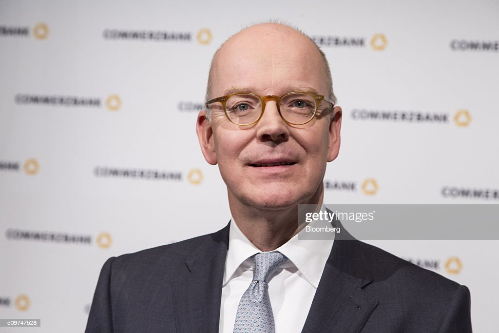 Martin Blessing, chief executive officer of Commerzbank AG, poses for a photograph ahead of a news conference to announce the bank's earnings in Frankfurt, Germany on Friday, Feb. 12, 2016. Commerzbank jumped the most in more than two years after fourth-quarter profit beat analyst estimates, as the lender said it plans to wind down its unit for soured loans at a faster pace than forecast. Photographer: Martin Leissl/Bloomberg via Getty Images
