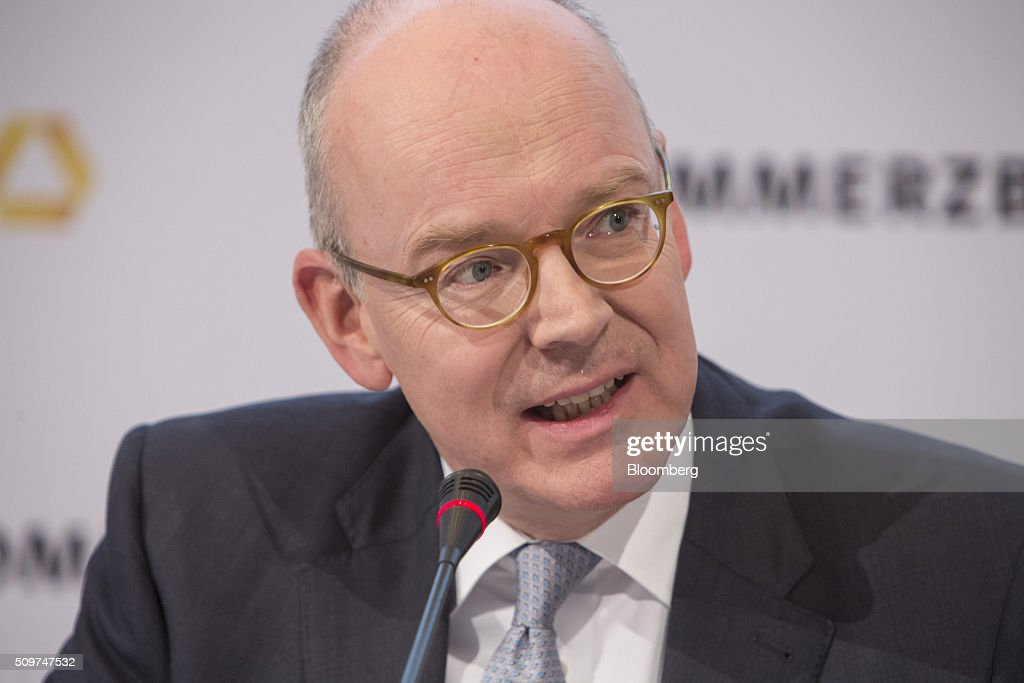 Martin Blessing, chief executive officer of Commerzbank AG, speaks during a news conference to announce the bank's earnings in Frankfurt, Germany on Friday, Feb. 12, 2016. Commerzbank jumped the most in more than two years after fourth-quarter profit beat analyst estimates, as the lender said it plans to wind down its unit for soured loans at a faster pace than forecast. Photographer: Martin Leissl/Bloomberg via Getty Images