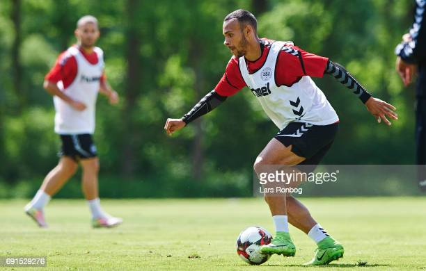 Martin Braithwaite in action during the Denmark training session at Brondby Stadion on June 2 2017 in Brondby Denmark