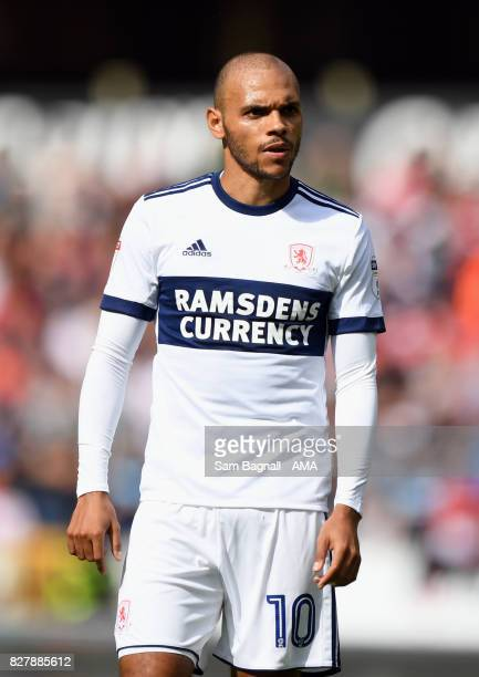 Martin Braithwaite of Middlesborough during the Sky Bet Championship match between Wolverhampton and Middlesbrough at Molineux on August 5 2017 in...