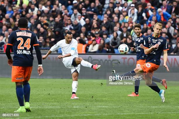 Martin Braithwaite of Toulouse and Paul Lasne and Lukas Pokorny of Montpellier during the French Ligue 1 match between Montpellier and Toulouse at...