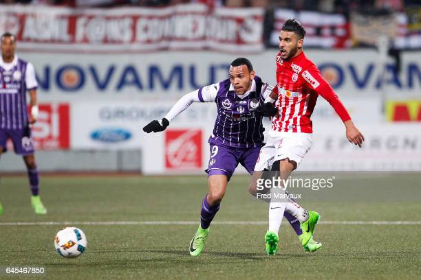 Martin Braithwaite of Toulouse and Youssef Ait Bennasser of Nancy during the French Ligue 1 match between Nancy and Toulouse at Stade Marcel Picot on...