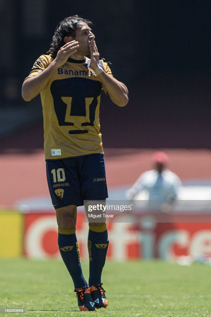 Martin Bravo of Pumas, celebrates after scoring during a match between Pumas and Chivas as part of the Clausura 2013 at Olympic stadium on March 03, 2013 in Mexico City, Mexico.