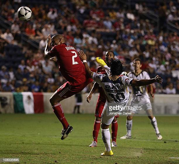 Martin Bravo of Pumas UNAM attempts a bicycle kick on goal over CJ Brown of the Chicago Fire during a SuperLiga 2010 match at Toyota Park on July 20...