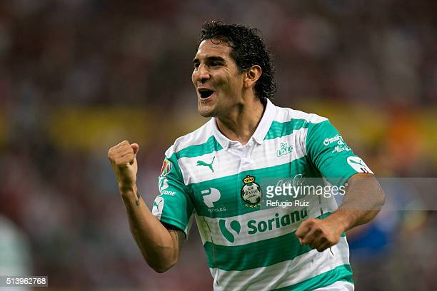 Martin Bravo of Santos celebrates after scoring the first goal of his team during the 9th round match between Atlas and Santos Laguna as part of the...