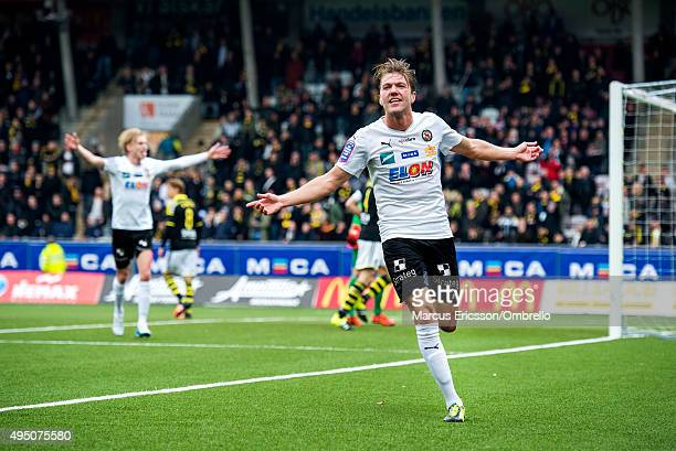 Martin Broberg of Orebro celebrates his goal during the match between Orebro SK and AIK at Behrn Arena on October 31 2015 in Orebro Sweden