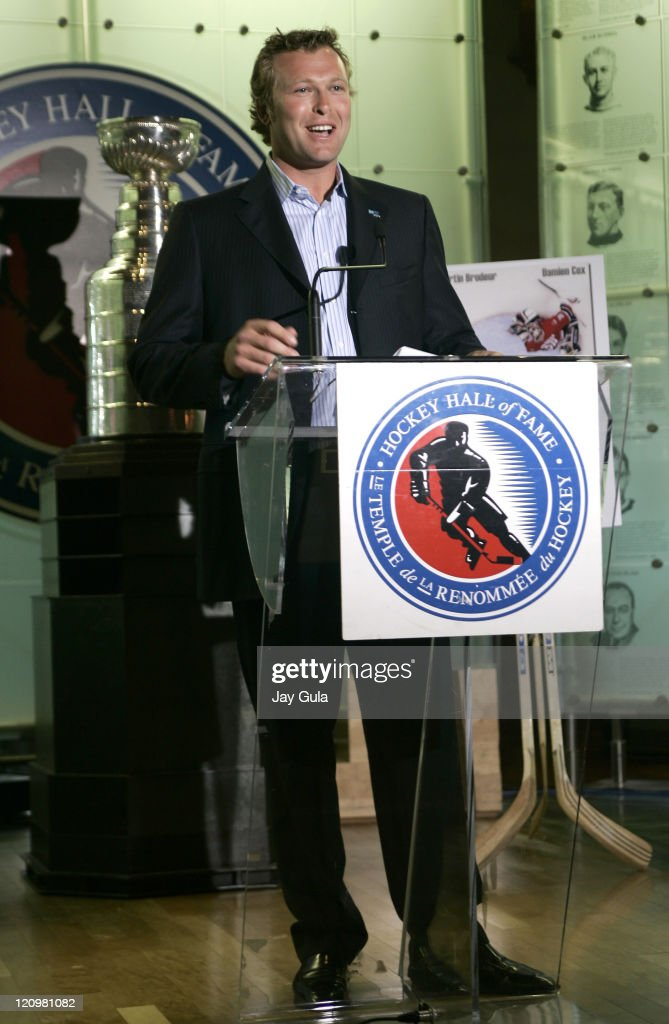 Martin Brodeur of the New Jersey Devils addresses those in attendance at the launching of his book 'Brodeur Beyond the Crease' in the Great Hall at...