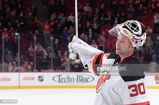 Martin Brodeur of the New Jersey Devils at the end of during the NHL game against the Montreal Canadiens on January 14 2014 at the Bell Centre in...