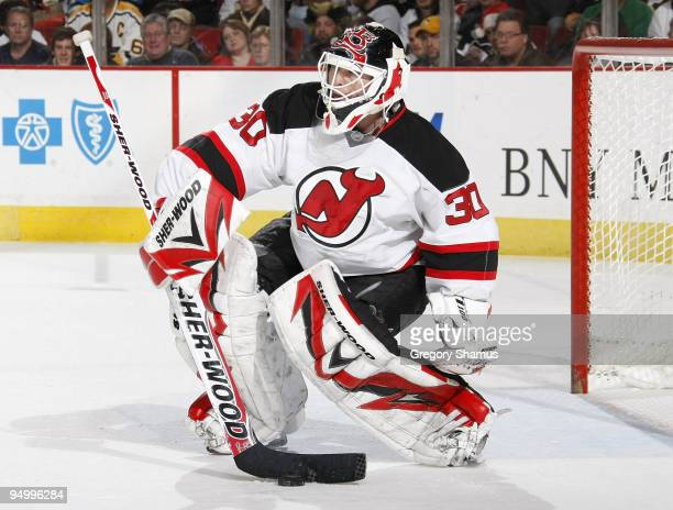 Martin Brodeur of the New Jersey Devils controls the puck against the Pittsburgh Penguins on December 21 2009 at Mellon Arena in Pittsburgh...