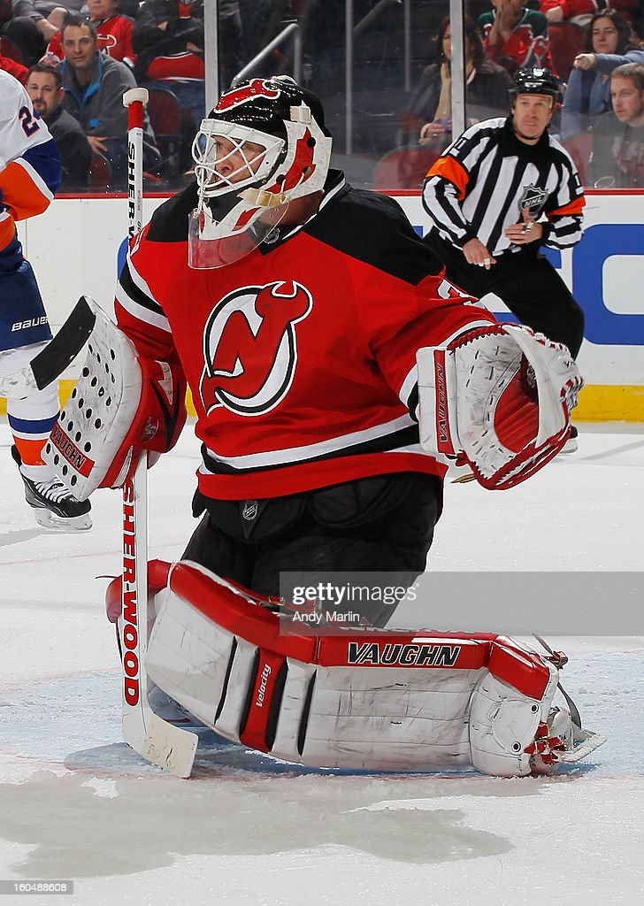 Martin Brodeur #30 of the New Jersey Devils defends his net against the New York Islanders during the game at the Prudential Center on January 31, 2013 in Newark, New Jersey.