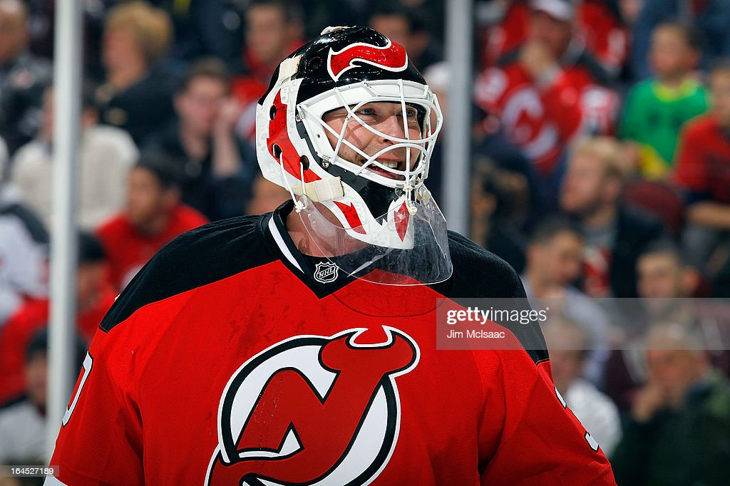 <a gi-track='captionPersonalityLinkClicked' href=/galleries/search?phrase=Martin+Brodeur&family=editorial&specificpeople=201594 ng-click='$event.stopPropagation()'>Martin Brodeur</a> #30 of the New Jersey Devils looks on against the Florida Panthers at the Prudential Center on March 23, 2013 in Newark, New Jersey. The Devils defeated the Panthers 2-1.