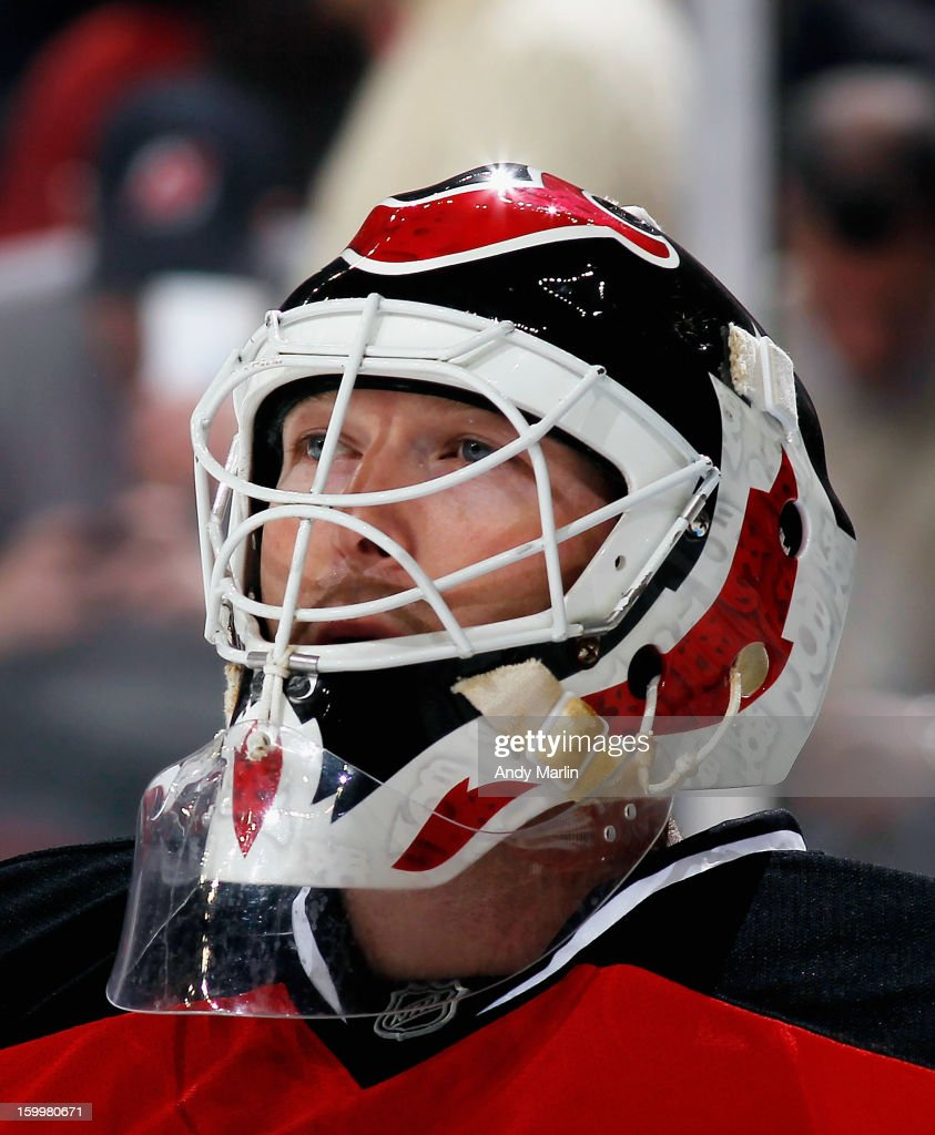 Martin Brodeur #30 of the New Jersey Devils looks on against the Philadelphia Flyers during the Devils home opener at the Prudential Center on January 22, 2013 in Newark, New Jersey.