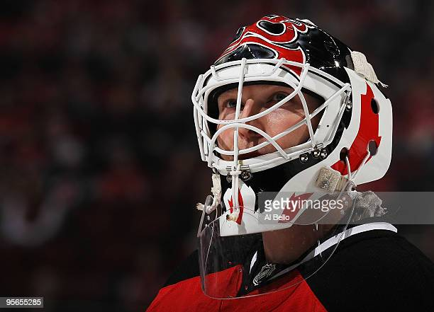 Martin Brodeur of the New Jersey Devils looks on against the Tampa Bay Lightning during their game on January 8 2010 at The Prudential Center in...