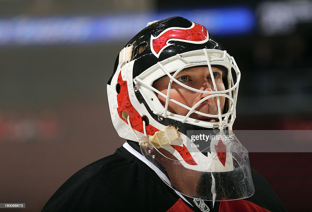 Martin Brodeur #30 of the New Jersey Devils looks on during warm ups before the game against the Washington Capitals at the Prudential Center on January 25, 2013 in Newark, New Jersey.