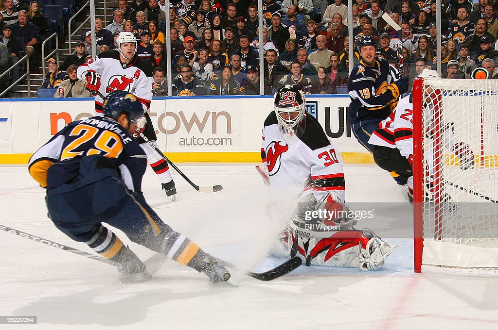 Martin Brodeur #30 of the New Jersey Devils makes a first period save against Jason Pominville #29 of the Buffalo Sabres on January 27, 2010 at HSBC Arena in Buffalo, New York.