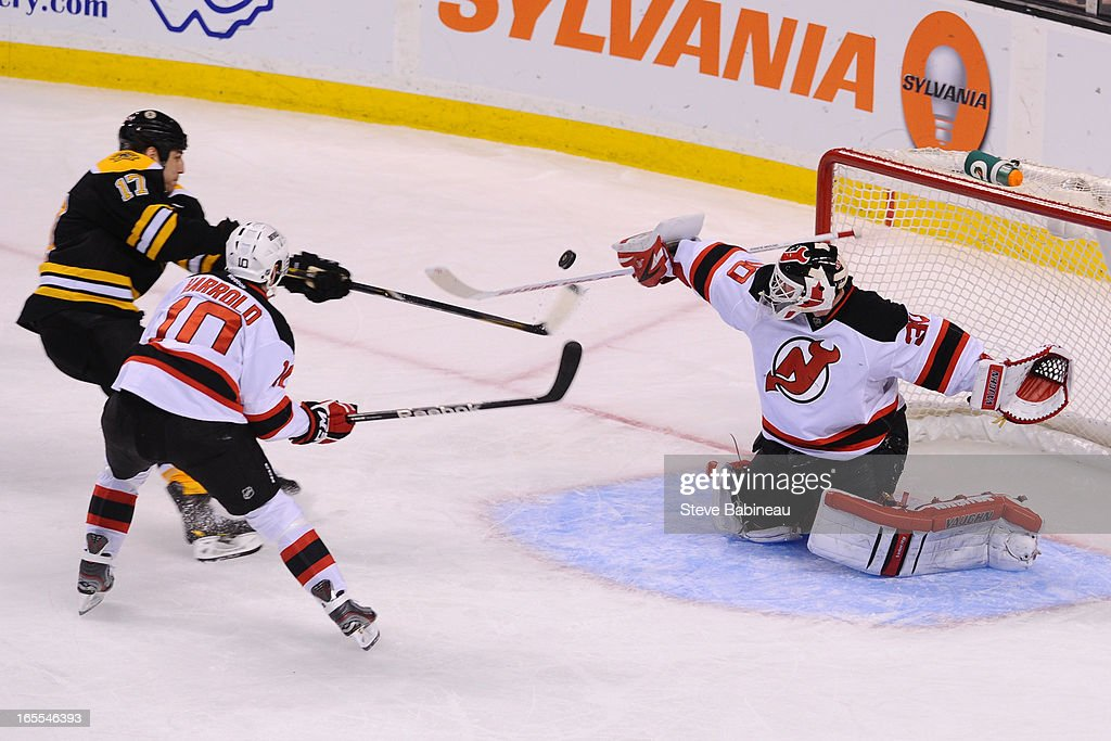 <a gi-track='captionPersonalityLinkClicked' href=/galleries/search?phrase=Martin+Brodeur&family=editorial&specificpeople=201594 ng-click='$event.stopPropagation()'>Martin Brodeur</a> #30 of the New Jersey Devils makes a save against the Boston Bruins at the TD Garden on April 4, 2013 in Boston, Massachusetts.
