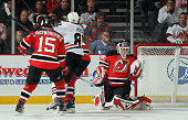 Martin Brodeur of the New Jersey Devils makes a second period save against the Chicago Blackhawks at the Prudential Center on April 2 2010 in Newark...