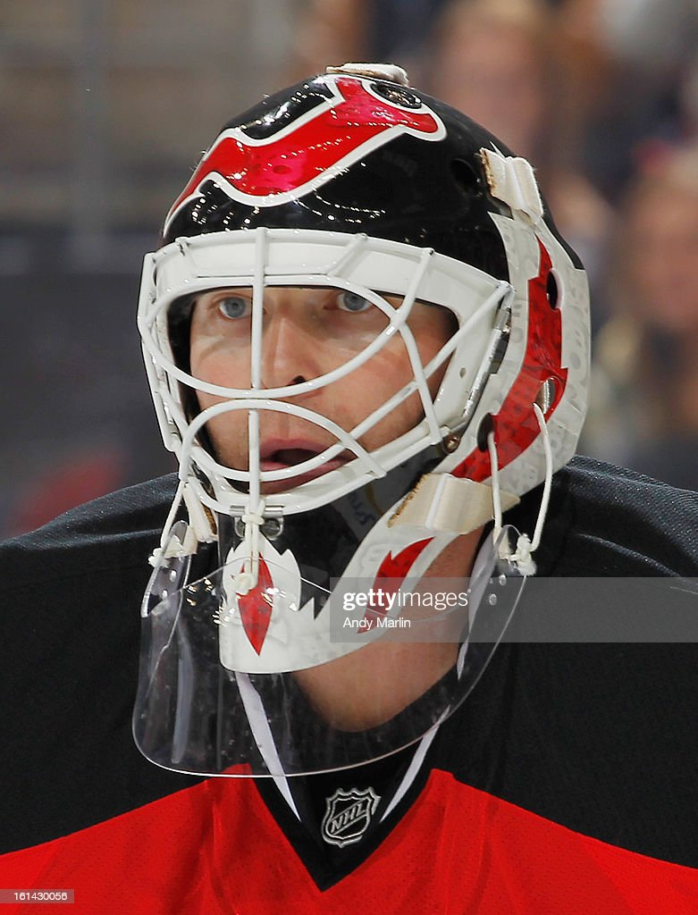Martin Brodeur #30 of the New Jersey Devils playing in his 1200th career NHL regular season game looks on against the Pittsburgh Penguins during the game at the Prudential Center on February 9, 2013 in Newark, New Jersey.