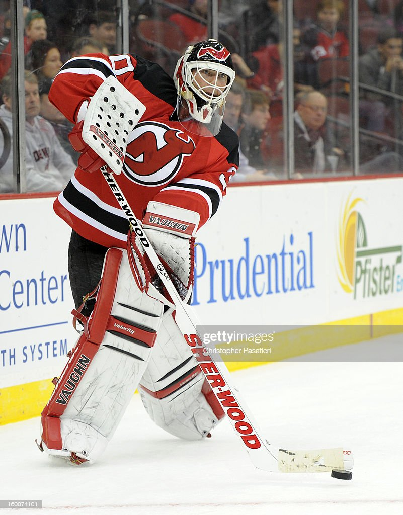 <a gi-track='captionPersonalityLinkClicked' href=/galleries/search?phrase=Martin+Brodeur&family=editorial&specificpeople=201594 ng-click='$event.stopPropagation()'>Martin Brodeur</a> #30 of the New Jersey Devils plays the puck during the game against the Washington Capitals on January 25, 2013 at the Prudential Center in Newark, New Jersey.