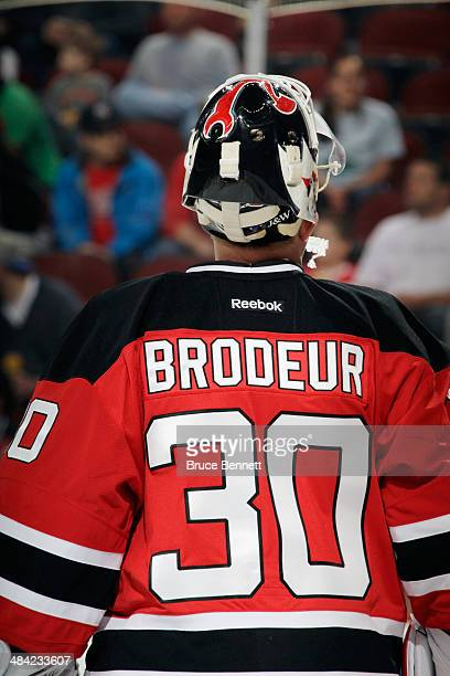 Martin Brodeur of the New Jersey Devils prepares to play against the New York Islanders at the Prudential Center on April 11 2014 in Newark New Jersey