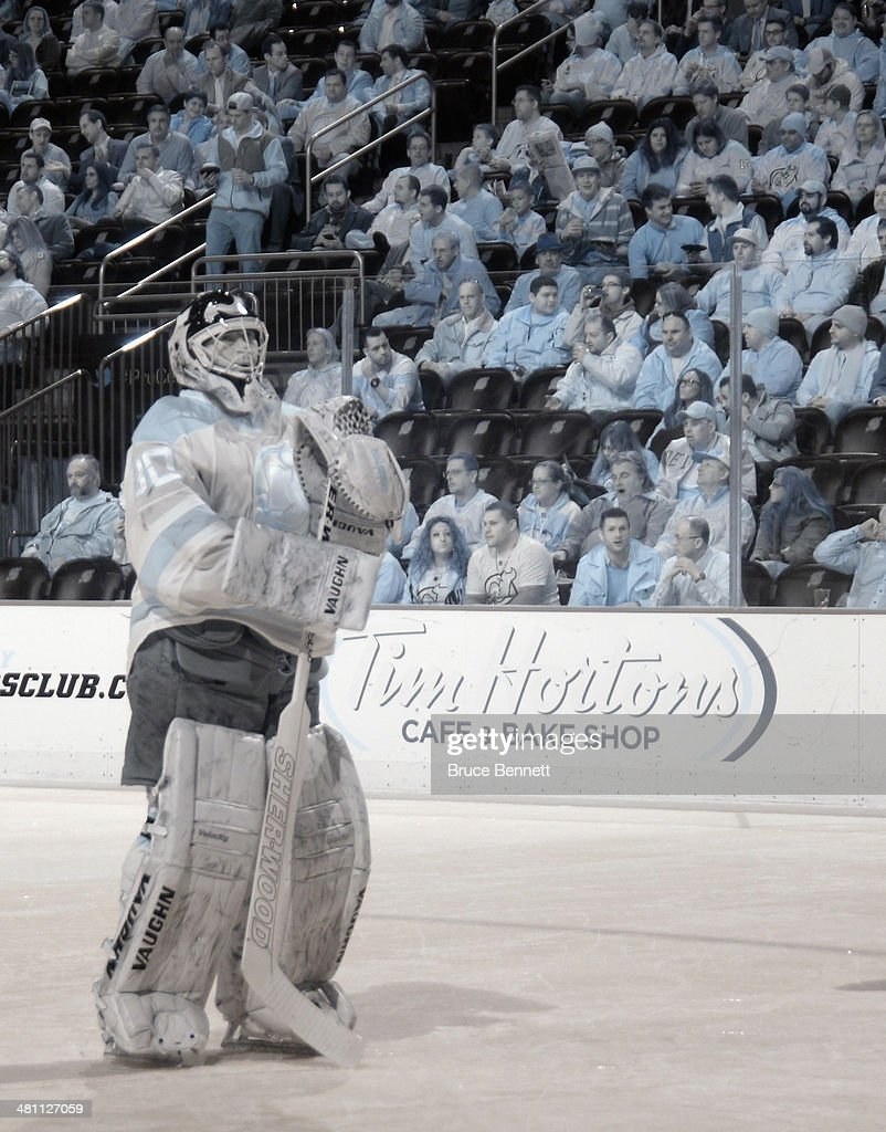 <a gi-track='captionPersonalityLinkClicked' href=/galleries/search?phrase=Martin+Brodeur&family=editorial&specificpeople=201594 ng-click='$event.stopPropagation()'>Martin Brodeur</a> #30 of the New Jersey Devils prepares to tend net against the Phoenix Coyotes at the Prudential Center on March 27, 2014 in Newark, New Jersey. The Coyotes defeated the Devils 3-2 in the shootout.