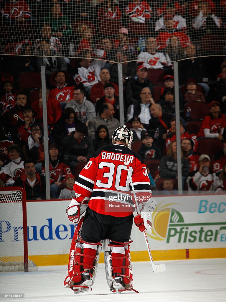 <a gi-track='captionPersonalityLinkClicked' href=/galleries/search?phrase=Martin+Brodeur&family=editorial&specificpeople=201594 ng-click='$event.stopPropagation()'>Martin Brodeur</a> #30 of the New Jersey Devils skates against the Florida Panthers at the Prudential Center on April 20, 2013 in Newark, New Jersey. The Devils defeated the Panthers 6-2,