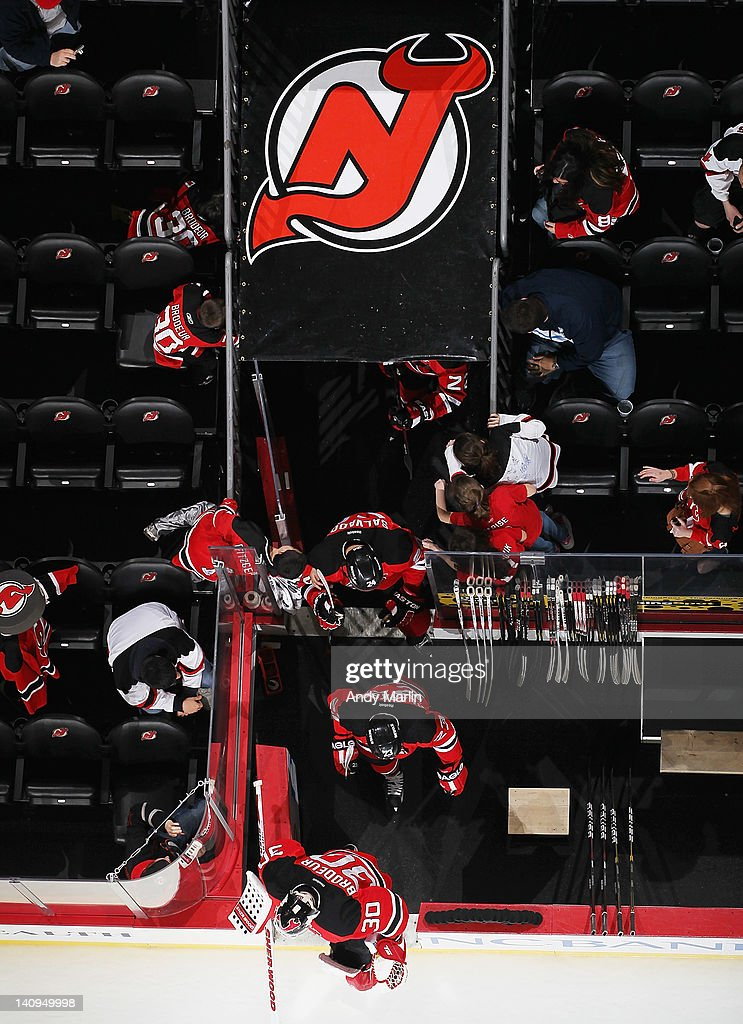 Martin Brodeur #30 of the New Jersey Devils takes the ice for warmups prior to the game against the New York Islanders at the Prudential Center on March 8, 2012 in Newark, New Jersey.