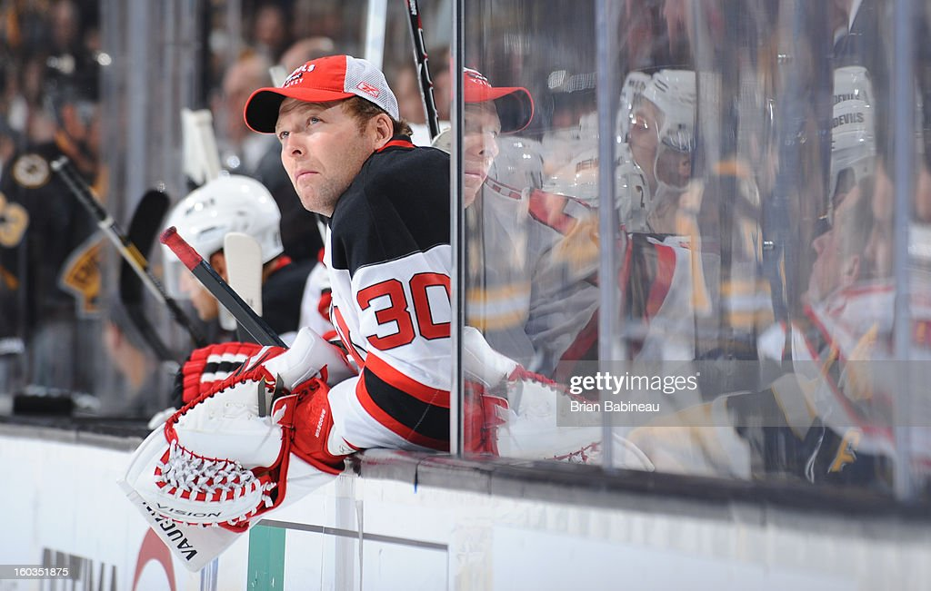<a gi-track='captionPersonalityLinkClicked' href=/galleries/search?phrase=Martin+Brodeur&family=editorial&specificpeople=201594 ng-click='$event.stopPropagation()'>Martin Brodeur</a> #30 of the New Jersey Devils watches the game from the bench against the Boston Bruins at the TD Garden on January 29, 2013 in Boston, Massachusetts.