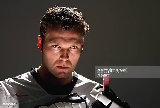 Martin Brodeur of the New Jersey Devils who will be representing USA in the 2006 Winter Olympics poses for a portrait at the South Mountain Arena on...