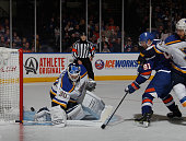 Martin Brodeur of the St Louis Blues makes the second period save on John Tavares of the New York Islanders at the Nassau Veterans Memorial Coliseum...