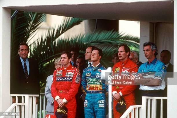 Martin Brundle Michael Schumacher Gerhard Berger Flavio Briatore Grand Prix of Monaco Monaco 15 May 1994 Two weeks after Ayrton Senna's death a...