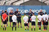 Martin Buchheit Pablo Villanueva Simon Colinet Juan Carlos Carcedo Unai Emery and Nicolas Dehon during Paris Saint Germain First Training Session on...