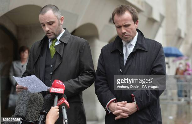 DCI Martin Bunning with Darren Cray the brotherinlaw of victim Kevin Lee's widow Christina Lee as he speaks outside the Old Bailey London as a judge...
