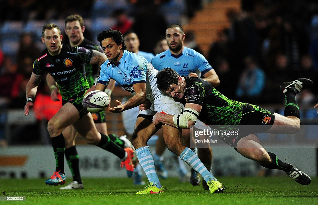 Martin Bustos Moyano of Bayonne is tackled by Ian Whitten of Exeter Chiefs during the European Rugby Challenge Cup match between Exeter Chiefs and...