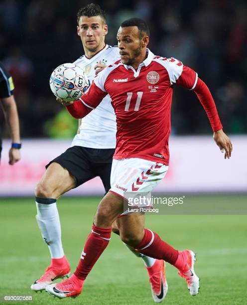 Martin C Braithwaite of Denmark controls the ball during the international friendly match between Denmark and Germany at Brondby Stadion on June 6...