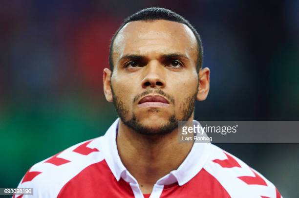 Martin C Braithwaite of Denmark looks on during the international friendly match between Denmark and Germany at Brondby Stadion on June 6 2017 in...